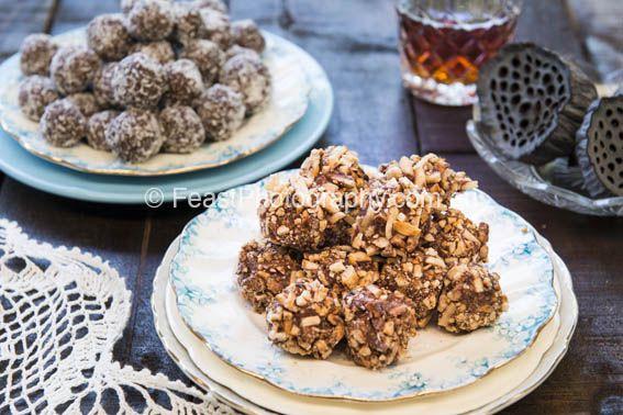 Traditional and choc & hazelnut coated Bundaberg rumballs