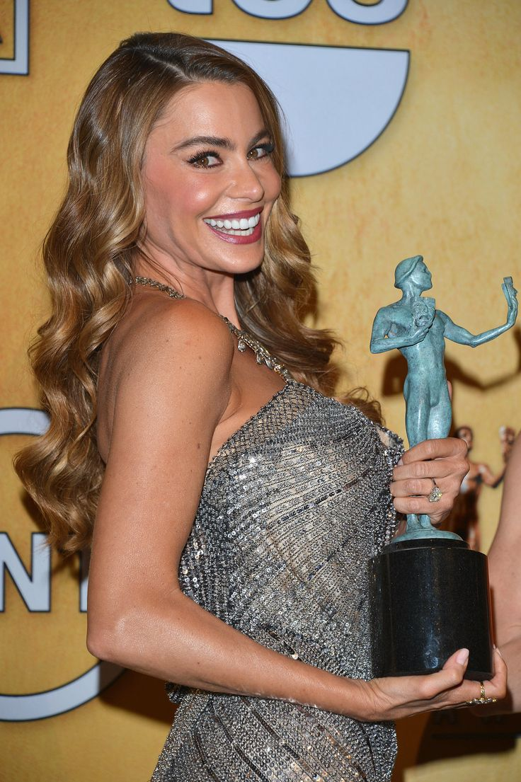 Sofia Vergara flashed a genuine smile after her win for Modern Family at the SAG Awards.