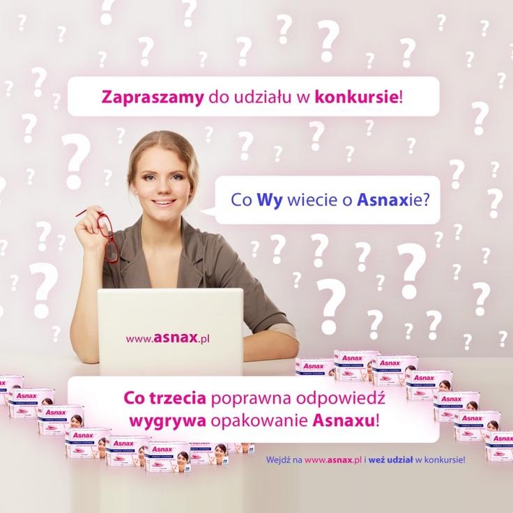 """Konkurs """"Co Wy wiecie o Asnaxie?""""  Co trzecia prawidłowa odpowiedź wygrywa opakowanie Asnaxu! Odpowiedzi na wszystkie pytania znajdziecie na naszych stronach www.asnax.pl, do dzieła! http://www.asnax.pl/aktualnosci,87,konkurs_co_wy_wiecie_o_asnaxie"""
