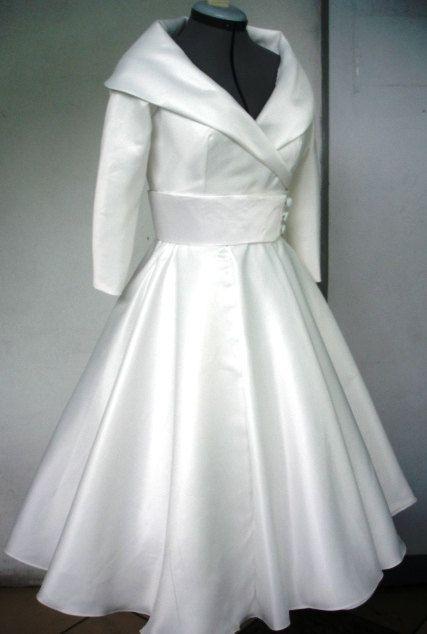 Most Elegant 50s WEDDING DRESS In IVORYDuchess Satin Custom. $285.00, via Etsy.
