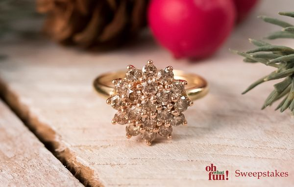 Toast to a great evening with this stunning champagne ring! || Champagne Diamond 1.00ctw Round 10k Yellow Gold Ring [Promotional Pin]