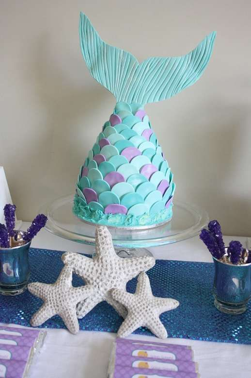 Love this mermaid tail cake!  | Little Mermaid Birthday Party | CatchMyParty.com