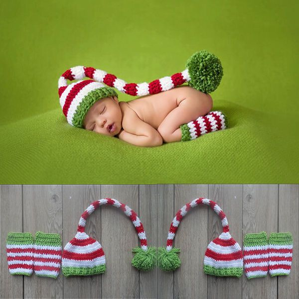 Christmas Design Hat Baby Handmade Beanies Costume Knitted newborn Long Tail Crochet photography props Newborn  Hat 0-12months