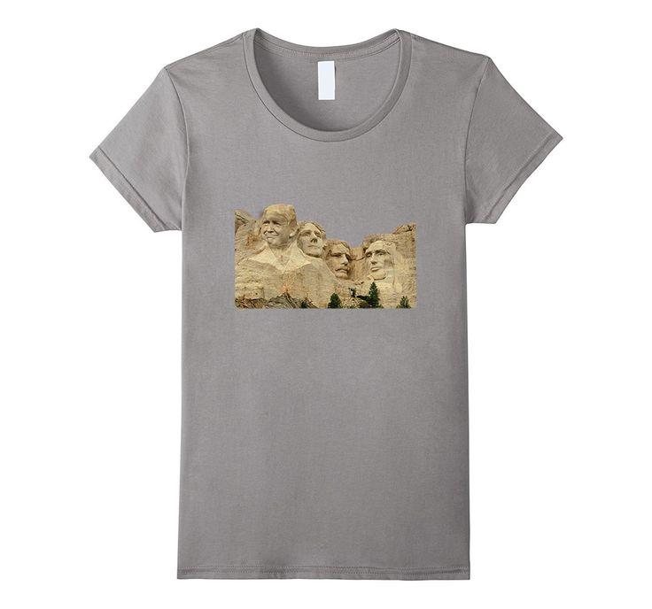 Trump Face On Mount Rushmore Funny President Joke T-Shirt