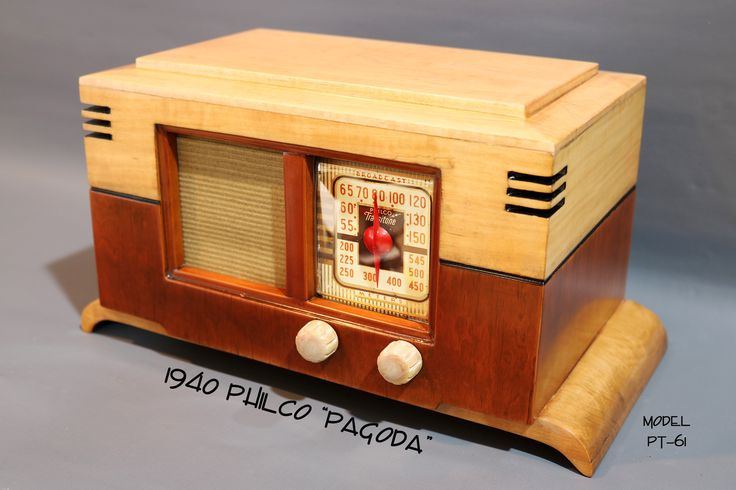 """1940 vintage Philco Transitone originally called """"The Jewell"""" but now known as the """"Pagoda"""" deco table top radio, model PT-61. Manufactured by Philco in Philadelpha, PA."""