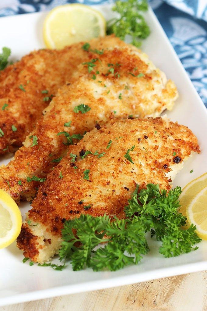Super easy Parmesan Crusted Chicken Cutlet recipe is crispy, tender and juicy. Quick and simple, this is a GREAT weeknight dinner option! | @suburbansoapbox