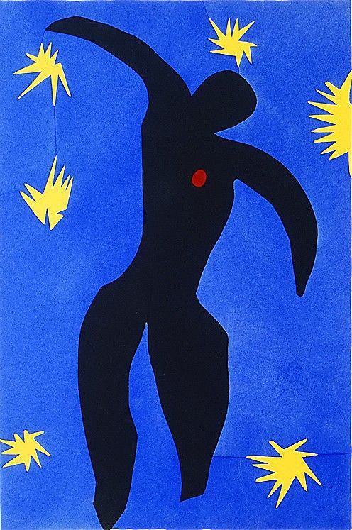 Matisse shows Icarus flailing in the deep blue sky, his body in free fall. It's a deeply tragic moment of inevitable death, of destruction, of collapse of hopes and ambitions, yet Matisse creates an almost meditational composition. The bursts of the yellow sunlight against the rich blue of the sky are almost hypnotic. His Icarus with a bright red spot in place of a heart is mysterious and calm, free of anxiety or fear.  More in ArtEx…