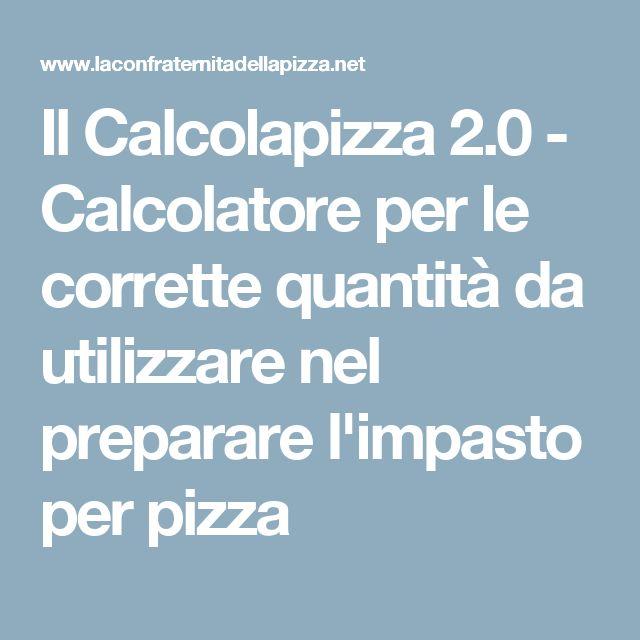 Il Calcolapizza 2.0 - Calcolatore per le corrette quantità da utilizzare nel preparare l'impasto per pizza