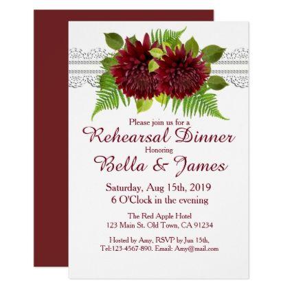 #Lace Marsala Floral Wedding Rehearsal Invitations - #weddinginvitations #wedding #invitations #party #card #cards #invitation #fall