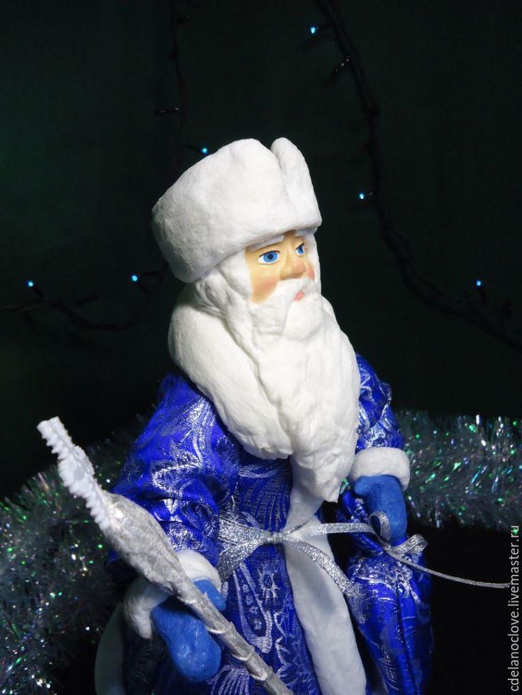 Купить Дед Мороз и Снегурочка - ватные фигуры под ёлку - синий, Дед Мороз и Снегурочка