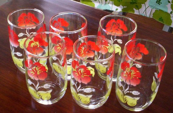 Vintage Flower Juice Glasses - French Toast Kitty on Etsy