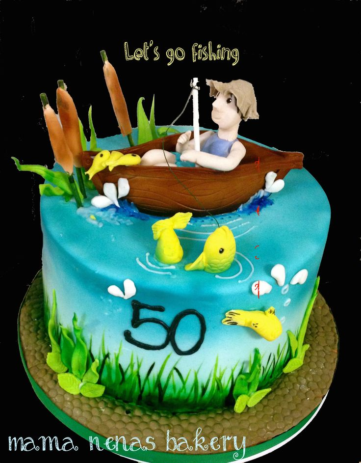 Fishing theme cake - Fishing theme cake, chocolate boat, gum paste and fondant accents birthday CAKE FISHING BOAT