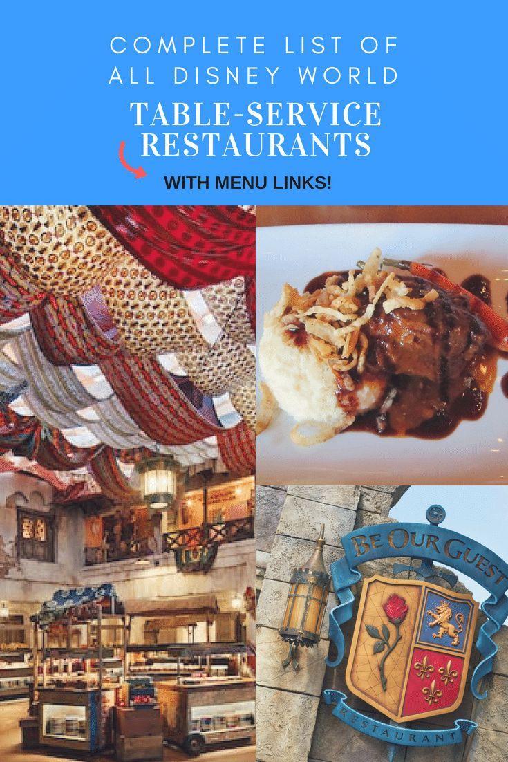 Complete Disney World Table Service Restaurant List Mickey