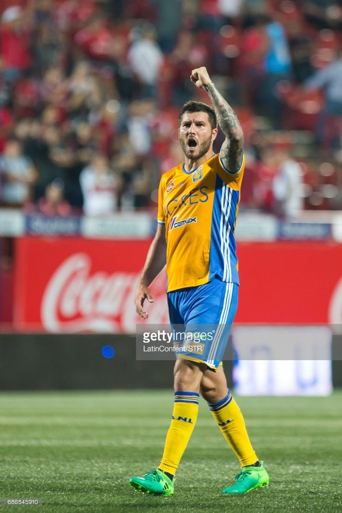Andre Pierre Gignac of Tigres celebrates during the semi final second leg match between Tijuana and Tigres UANL as part of the Torneo Clausura 2017 Liga MX at Caliente Stadium on May 21, 2017 in Tijuana, Mexico.