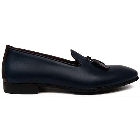 8492 zapato mocasín azul con borlas en marrón, tipo slipper de Paco Milan | Calzados Garrido