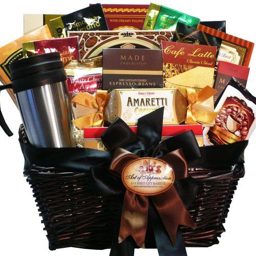 Your coffee connoisseur will truly appreciate this handsome gourmet gift basket filled with everything caffeine paired with great gourmet go-togethers to nibble, dunk and savor After the goodies are gone, the dark stained wicker basket makes handy storage or decor in any office, den or home Each gift is crafted with attention to detail, tied with ribbon for presentation, ready for gift giving Coffee Connoisseur Gourmet Food Gift Basket
