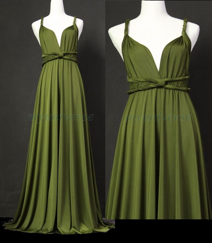 Bridesmaid Dress Olive Green Maxi Dress Wedding Dress Wrap Convertible Dress Infinity Party Prom. $99.00, via Etsy.