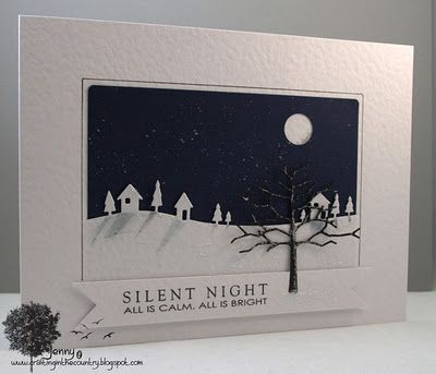 "11/22/2011; Jenny at 'Crafting in the Country' blog; Memory Box dies; ""shadows"" on the ice, navy background flicked with silver paint for stars, and a whole punch for the moon; GREAT CARD!!!"
