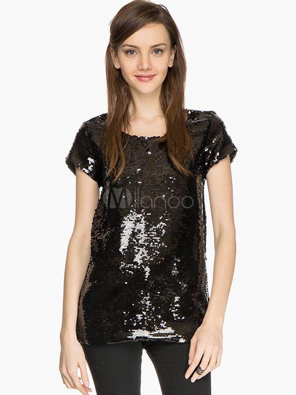 Modern Black Glitter Short Sleeves Sequins T-shirt - Milanoo.com