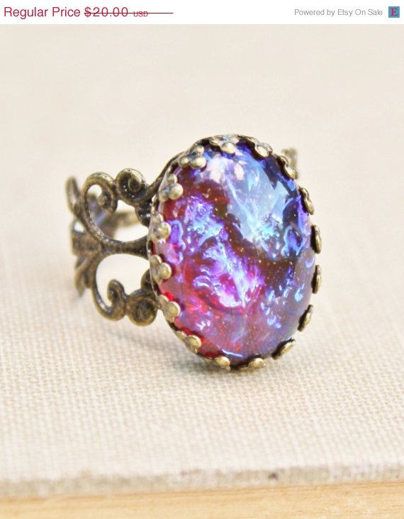 SALE Vintage Dragons Breath Opal Ring,Mexican Opal,Red Opal with Stunning Purple Highlights,Adjustable Brass Filigree Ring,Victorian,Opal J