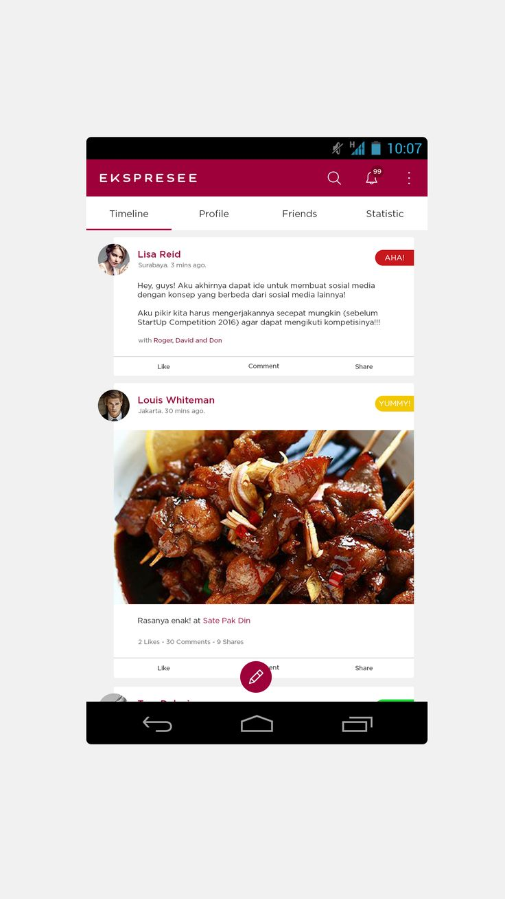 Ekspresee Activity Feed #UI #Design #vokkuskreatif #vokkus #Mobile