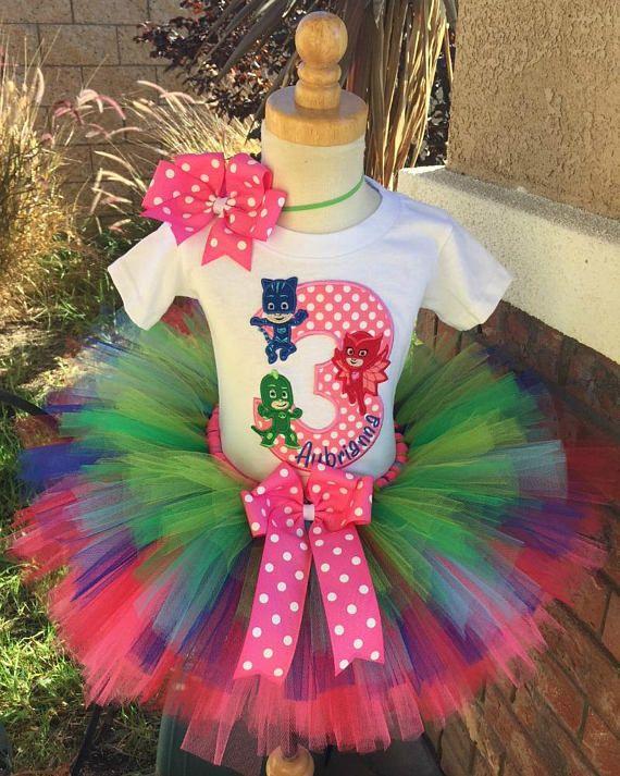 Lizard boy girls outfit Customized to your colors and theme. Gekko birthday tutu set PJ Masks birthday girls tutu dress outfit