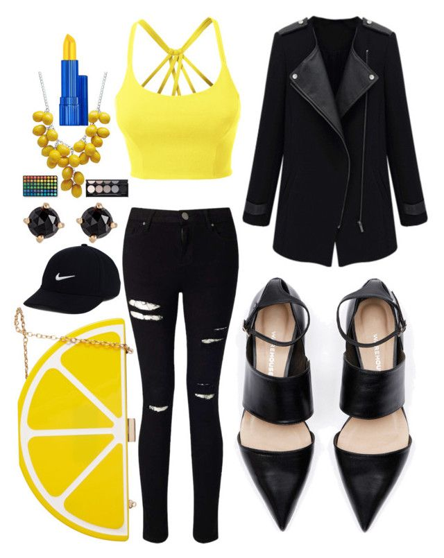 """""""Black & Yellow"""" by diyloving on Polyvore featuring LE3NO, Miss Selfridge, Jessica McClintock, NIKE, Irene Neuwirth, Estée Lauder, Witchery and BHCosmetics"""