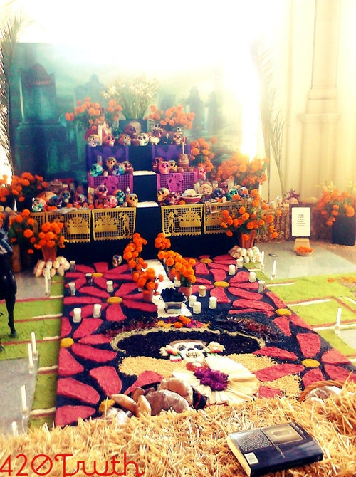 "El Día de los muertos (The Day of the Dead) in Mexico is a joyous and festive celebration that has nothing to do with the idea of death as grim, but with the celebration of the happy existence of souls. Festivities begin a few weeks before, when Mexicans of all walks of life take to the street to buy flowers (especially marigolds), candles and food, which are then placed on an altar or by the grave of the dead. Sweets like chocolate coffins, sugar skeletons and ""pan de muerto"" are made…"