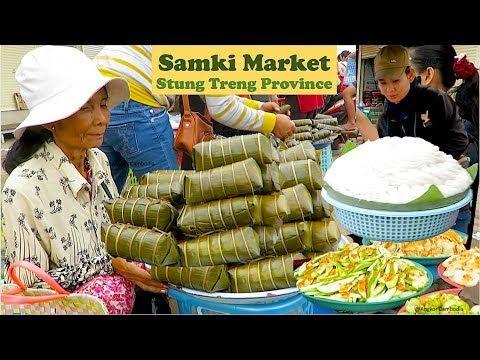 Street Foods at Samaki Market Krong Stung Treng in Cambodia   Morning Li...