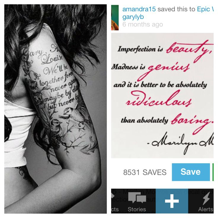 My next tattoo! I love the Marilyn quote and I like the girls idea of the half sleeve but without all the birds