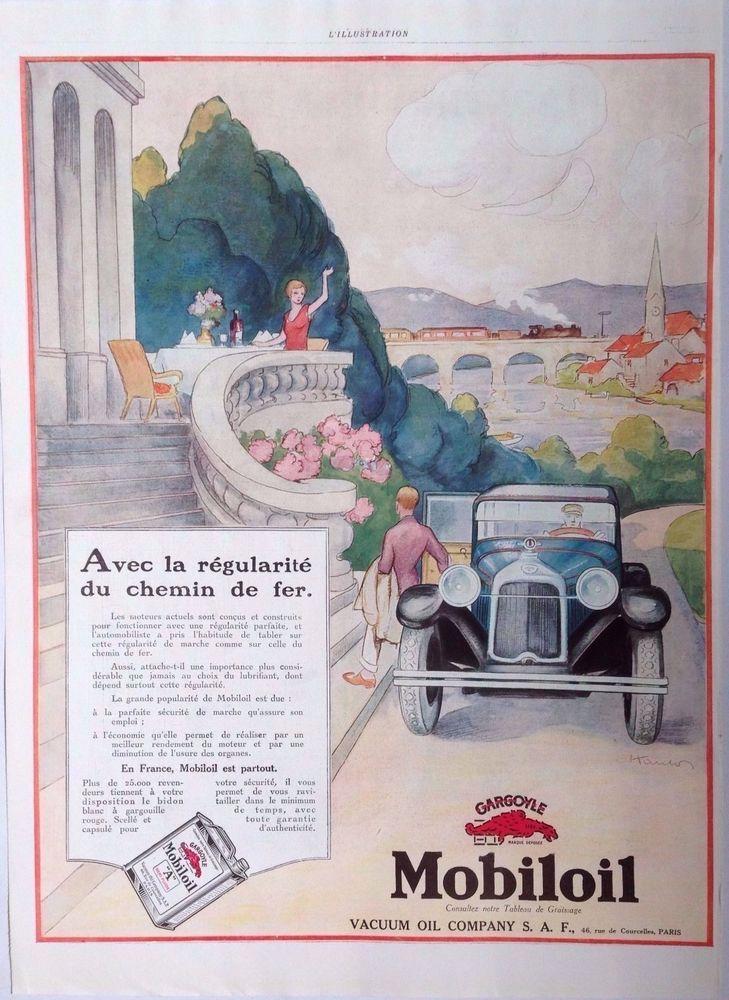MOBILOIL VACUUM ART DECO GARGOYLE AD RETRO GEO HAM 1920s original vintage advert