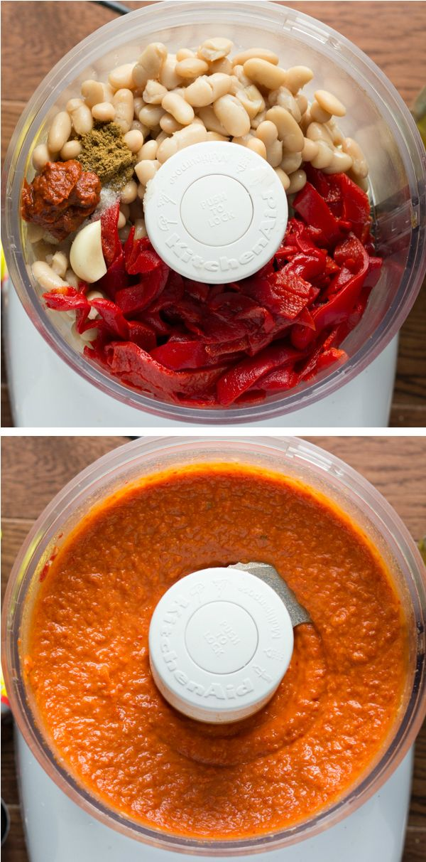"""5-minute Red Pepper and Harissa """"Hummus"""": a little bit sweet, a little bit spicy and completely delicious.  The best part: healthy!!"""