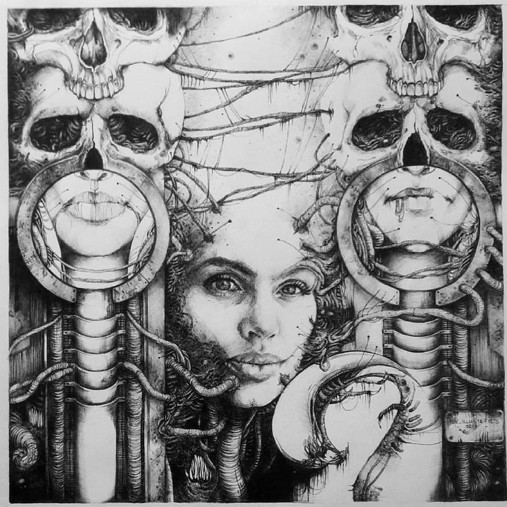 scifi portrait biomechanical portrait - birthday gift