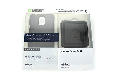 TRIDENT Samsung Galaxy S 5 Electra Series Qi Power Base 6000 Bundle - BLACK. Fits Samsung Galaxy S 5. Wireless charging case. Qi technology. Soft touch feel & antiskid design. Rechargeable 6000mAh high-capacity lithium polymer battery.