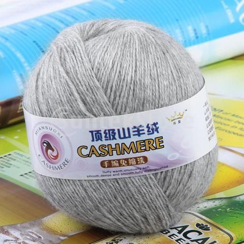 Cashmere Knitting Yarn : Skein Ball Cashmere Knitting Weaving Wool Yarn - Light Grey / 95 pe ...