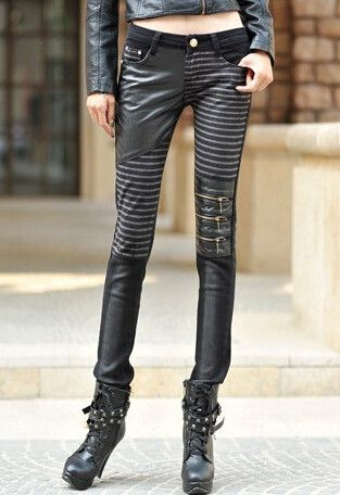 High quality PU leather jeans for women 2016 fashion Casual pants feet Denim jeans for woman pencil pants big size black