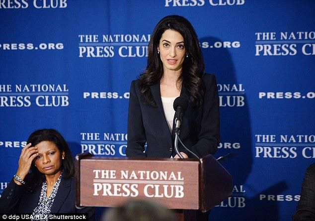 Amal Clooney at the press conference in Washington DC for the release of Mohamed Nasheed