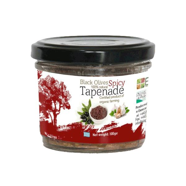 ELAGRIS olive tapenade zesty is based on a homemade recipe and the highest quality organic products. Garlic, hot peppers, various herbs and red wine vinegar give our olive tapenade a zesty, rounded flavor. It can be served as a starter or dip with crispy bread. It goes well with salad, gives pasta a cunning flavor and can also be used as zesty pizza topping.