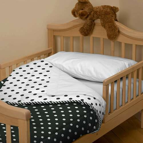 black and white dots and stripes toddler bedding carousel designs