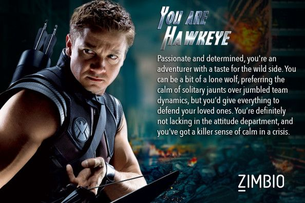 I'm Hawkeye! Not sure how I feel about this yet. - Which 'Avengers' Character Are You? - Zimbio