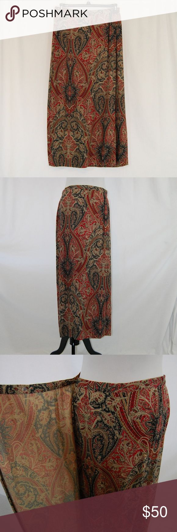 """🆕 Talbots Oriental Rug Style Wrap Skirt Long skirt (midi or maxi - depending on your height - see measurements)  Wrap style with a hook and a button to secure it at the waist. 92% Rayon / 8% Wool  Oriental Rug / Paisley design. Rich beautiful colors!  Excellent condition and dry cleaned already.  Approximate measurements (taken flat & buttoned): Waist = 15.5"""" Length = 37""""  <R24> Talbots Skirts Maxi"""