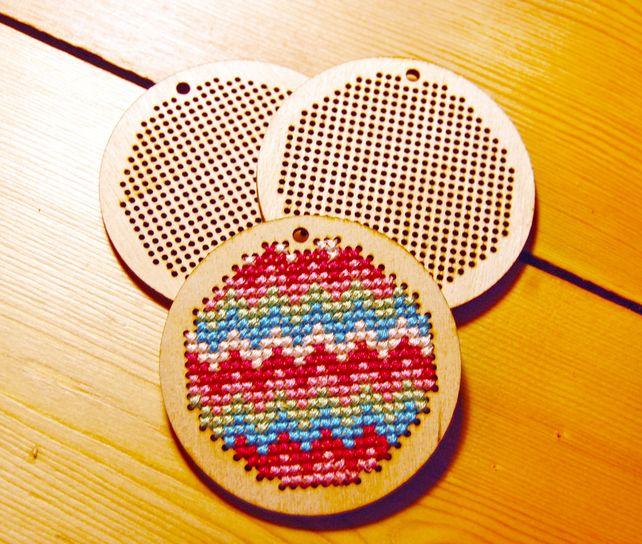 Wooden Cross Stitch Pendant or Keyring Blank £6.00