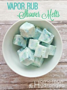 Try this easy recipe for homemade vapor rub shower cubes. This DIY remedy isperfect for clearing up nasal congestion and cold symptoms.
