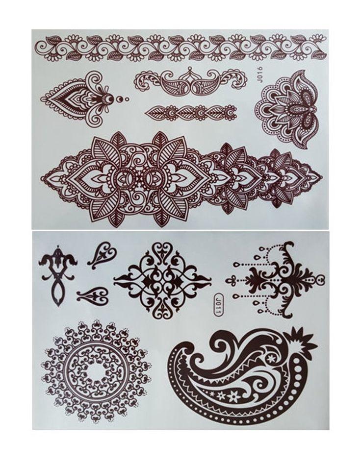 4 sheets of henna temporary flash tattoo etsy in 2020