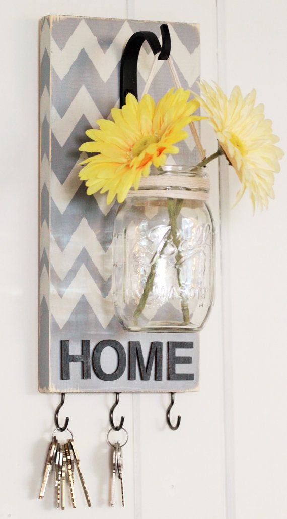 Housewarming Gift, Key Holder, Chevron, Pallet Wood Mason Jar Wall Hanging