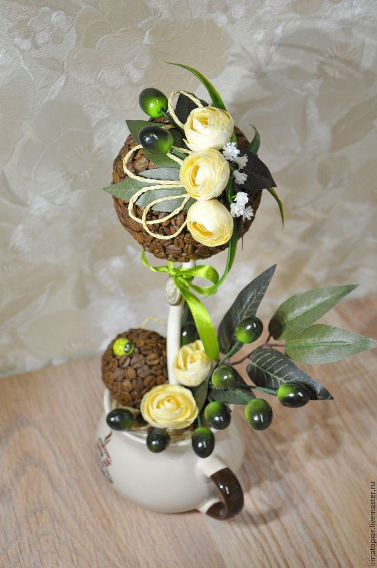 Купить Интерьерная композиция Кофе и оливки - оливковый, кофейный цвет, кофейное дерево, Кофейный топиарий