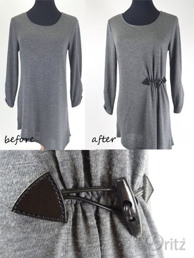 Dritz Sew-on Toggle shown on a refashioned T-shirt