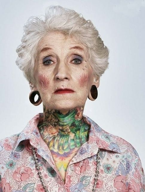 Neck tattoo for old Women