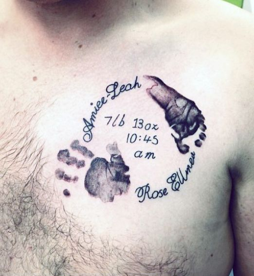 Cool Mens Baby Birthdate Handprint Upper Chest Tattoo