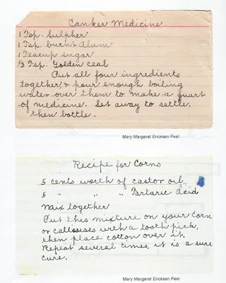 Recipes - - - - Pioneer and Family Favorites: recipe for corns and canker medicine